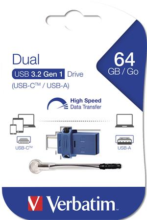 Pendrive, 64GB, USB 3.0+USB-C adapter, VERBATIM, DUAL