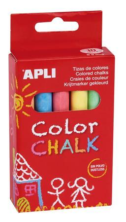 Táblakréta, kerek, 10 darabos, APLI, vegyes színek