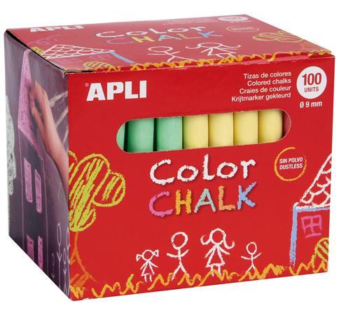 Táblakréta, kerek, 100 darabos, APLI, vegyes színek