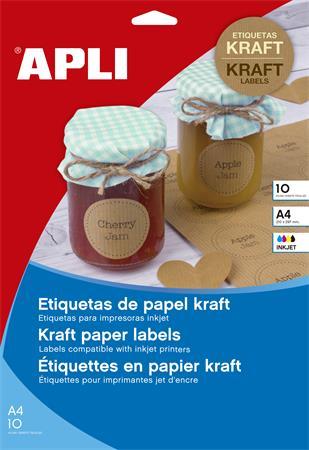 Etikett, tintasugaras nyomtatóhoz, 210x297 mm, natúr hatású, APLI, 10 etikett/csomag