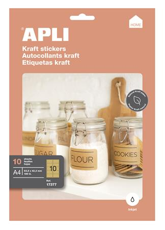 Etikett, tintasugaras nyomtatóhoz, 99,1x57 mm, natúr hatású, APLI, 100 etikett/csomag