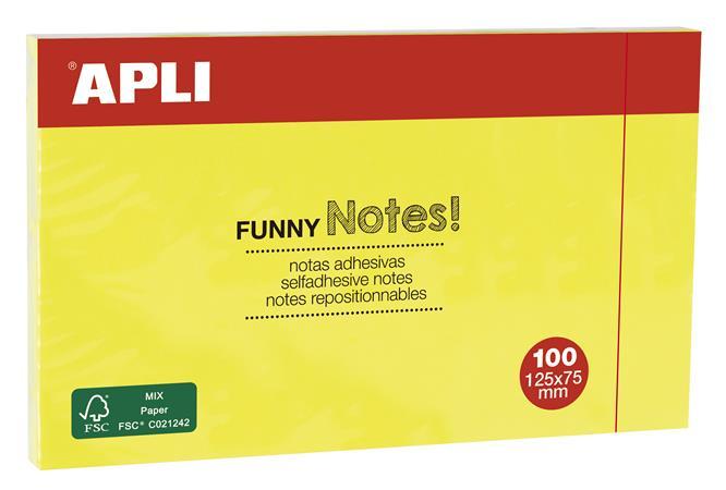 Öntapadó jegyzettömb, 125x75 mm, 100 lap, APLI, sárga