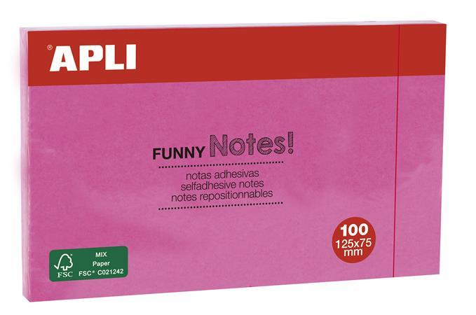 Öntapadó jegyzettömb, 125x75 mm, 100 lap, APLI, pink