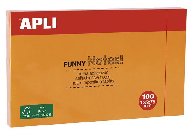 Öntapadó jegyzettömb, 125x75 mm, 100 lap, APLI, narancssárga