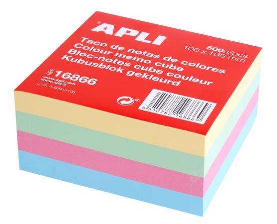 Öntapadó jegyzettömb, 100x100 mm, 500 lap, APLI, pasztel