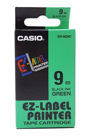 Feliratozógép szalag, 9 mm x 8 m, CASIO, zöld-fekete