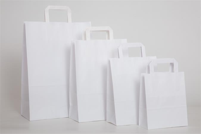 Füles papírtasak, szalagfüles, fehér, 22x10x28 cm