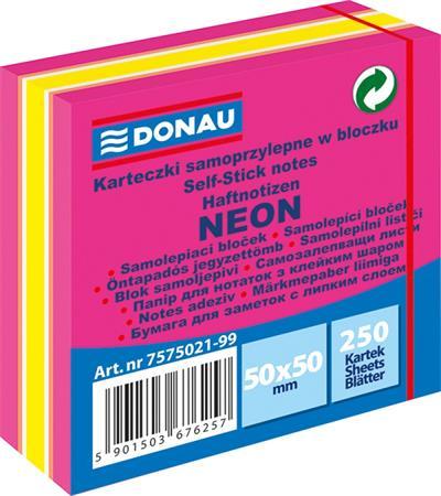 Öntapadó jegyzettömb, 50x50 mm, 250 lap, DONAU, neon rózsaszín
