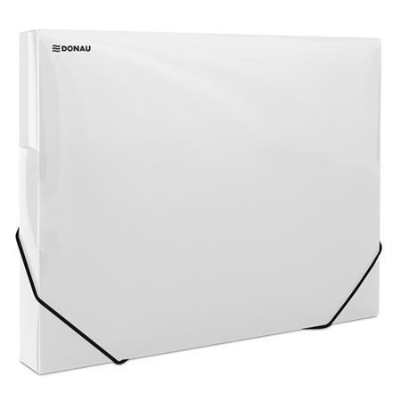 Gumis mappa, 30 mm, PP, merevített, A4, DONAU, áttetsző fehér