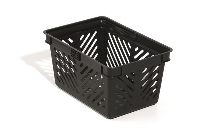 Bevásárlókosár, műanyag, 27 l, fekete