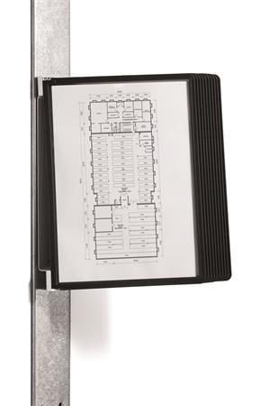 Bemutatótábla tartó, fali, mágneses, 10 db bemutatótáblával, DURABLE