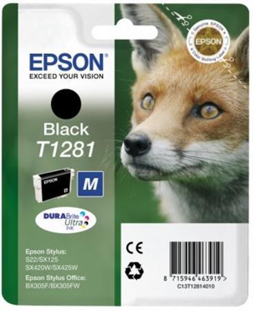 T12814011 Tintapatron Stylus S22, SX125, SX420W nyomtatókhoz, EPSON fekete, 5,9ml