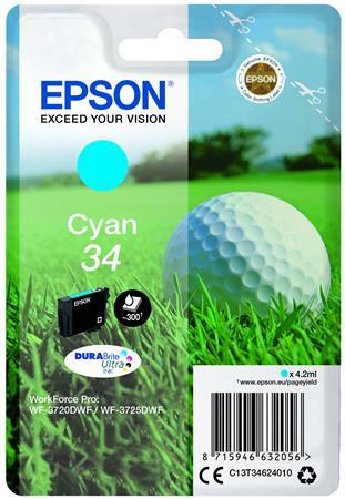 T34624010 Tintapatron WorkForce WF-3720DWF nyomtatóhoz, EPSON, cián, 4,2 ml
