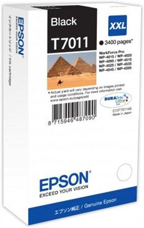 T70114010 Tintapatron Workforce Pro 4000, 4500 sorozat nyomtatókhoz, EPSON fekete, 63,2 ml