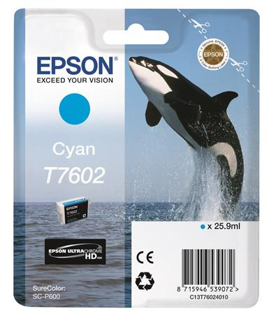 T76024010 Tintapatron SureColor SC-P600 nyomtatóhoz, EPSON, cián, 25,9 ml