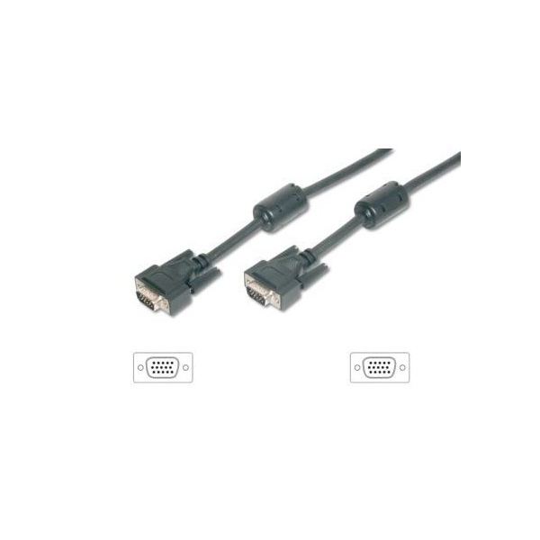 VGA monitor kábel, ferrit gyűrűvel, 1,8 m, EQUIP
