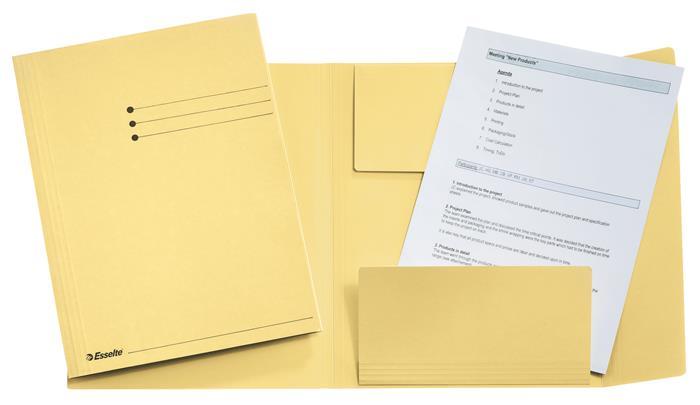 Pólyás dosszié, prespán, A4, ESSELTE, sárga,