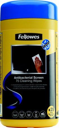 Tisztítókendő, képernyőhöz, antibakteriális, 75+25 db, FELLOWES