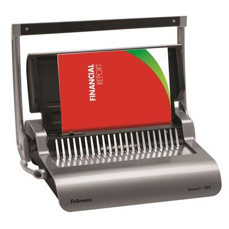 Spirálozógép, műanyag spirálkötéshez, ajándék előlap és hátlap, manuális, 500 lap, FELLOWES