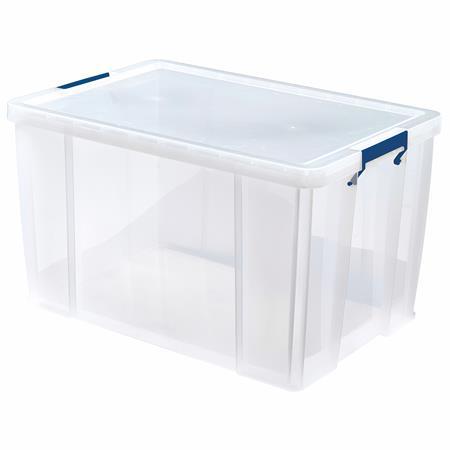 Műanyag tároló doboz, átlátszó, 85 liter, FELLOWES,