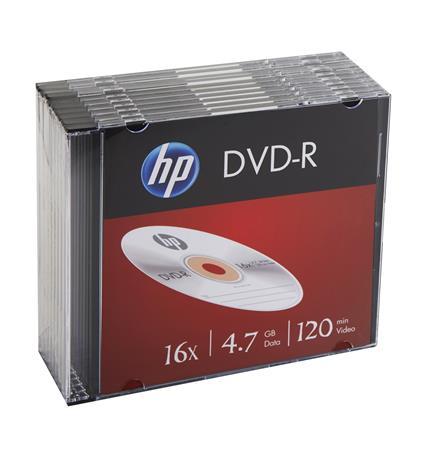 DVD-R lemez, 4,7 GB, 16x, vékony tok, HP