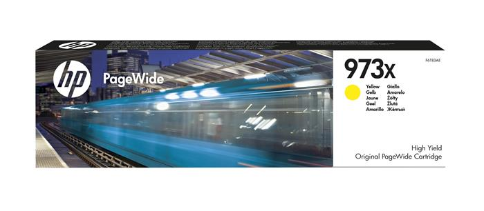 F6T83AE Tintapatron, PageWide Pro 452, 477, Managed P57750, P55250 nyomtatókhoz, HP 973X, sárga, 7k
