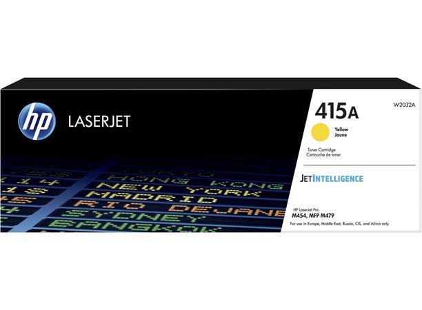 W2032A Lézertoner Color LaserJet Pro M454, MFP M479 nyomtatókhoz, HP 415A, sárga, 2,1k