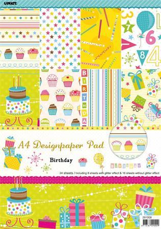 Mintás kartonpapír csomag, A4, születésnap