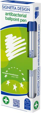 Golyóstoll 0,7 mm, kupakos, antibakteriális, ICO