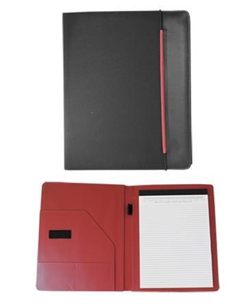 Konferencia mappa, A4, szövet, fekete-piros