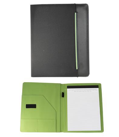 Konferencia mappa, A4, szövet, fekete-zöld