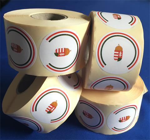 Etikett, 50 mm kör, 1000 etikett/tekercs, magyar címeres