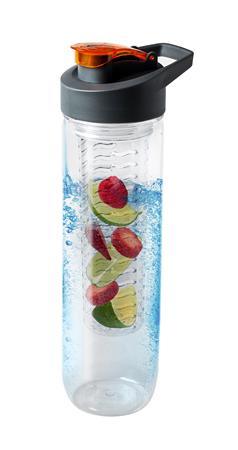 Kulacs, gyümölcstartó infuserrel, akasztóval, műanyag, 0,8l