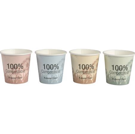 Papír pohár, komposztálható, 2,4 dl, vegyes színek