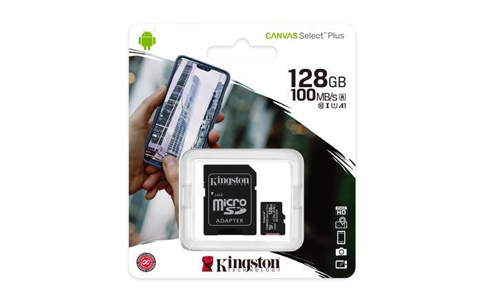 Memóriakártya, microSDXC, 128GB, CL10/U1/A1, adapter, KINGSTON