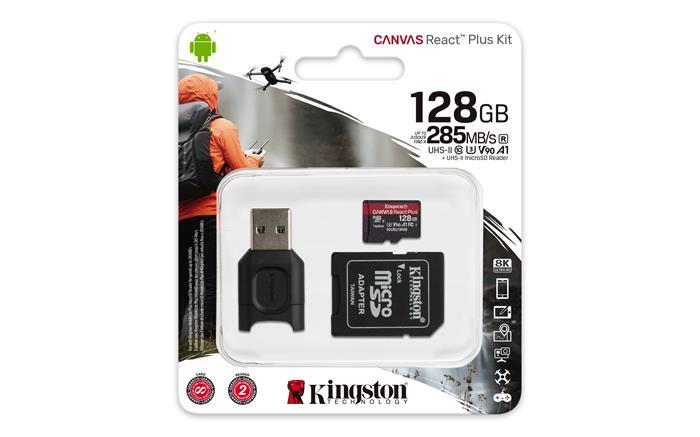 Memóriakártya, microSDXC, 128GB, C10/UHS-II/U3/V90/A1, adapter, kártyaolvasó, KINGSTON