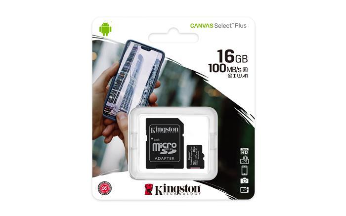 Memóriakártya, microSDHC, 16GB, CL10/U1/A1, adapter, KINGSTON