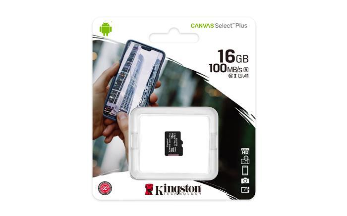 Memóriakártya, microSDHC, 16GB, CL10/U1/A1, KINGSTON