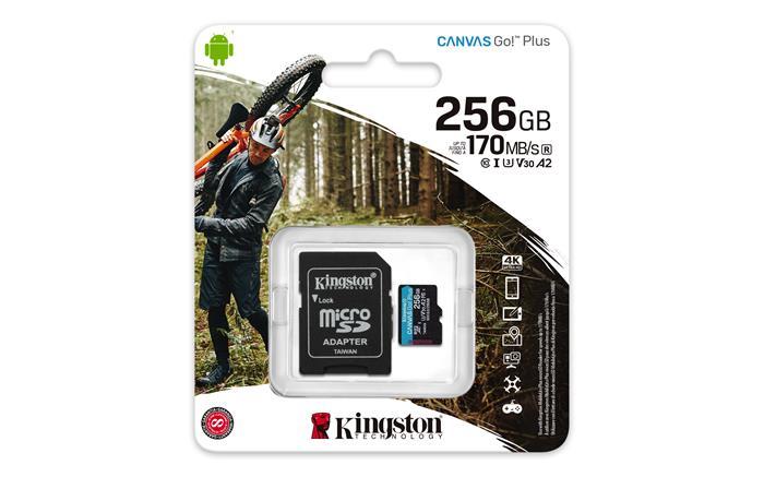 Memóriakártya, microSDXC, 256GB, C10/UHS-I/U3/V30/A2, adatper, KINGSTON