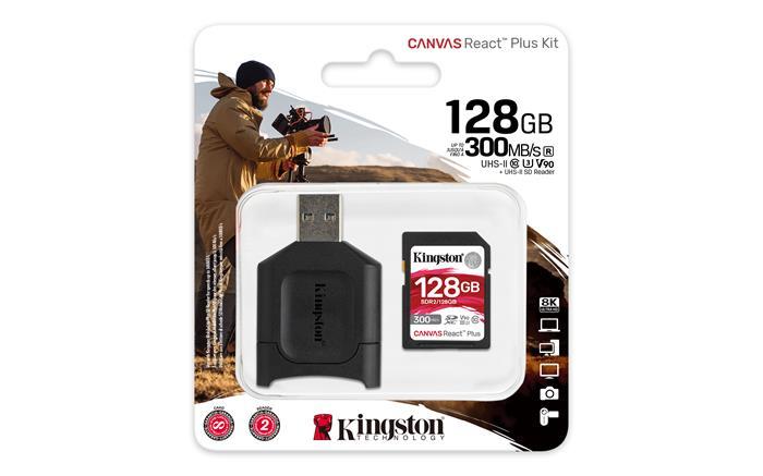 Memóriakártya, SDXC, 128GB, C10/UHS-II/U3/V90/A1, kártyaolvasó, KINGSTON