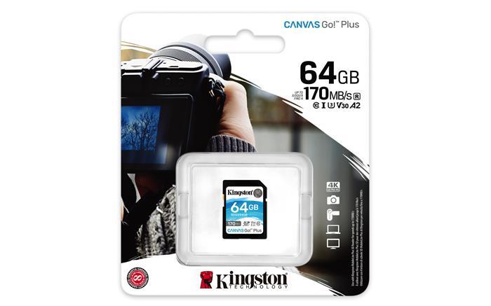 Memóriakártya, SDXC, 64GB, C10/UHS-I/U3/V30/A2, KINGSTON
