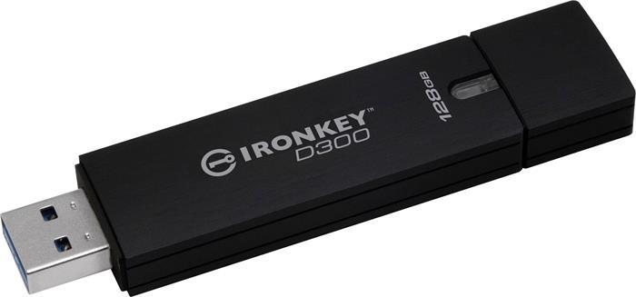 Pendrive, 128GB, 250/85 MB/s, titkosítással, USB 3.0, KINGSTON,