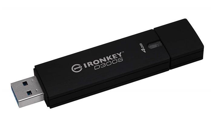 Pendrive, 4GB, 80/12 Mb/s, titkosítással, USB 3.0, KINGSTON,