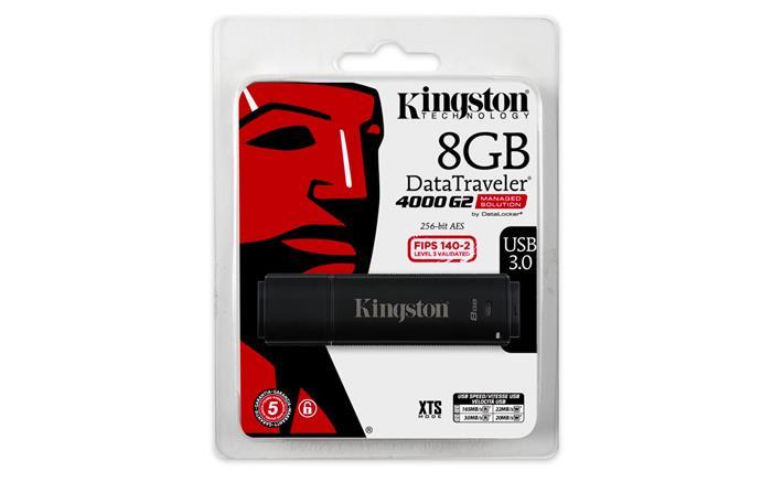 Pendrive, 8GB, USB 3.0, víz- és ütésálló, adatvédelem, KINGSTON