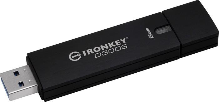Pendrive, 8GB, 165/22 Mb/s, titkosítással, USB 3.0, KINGSTON,