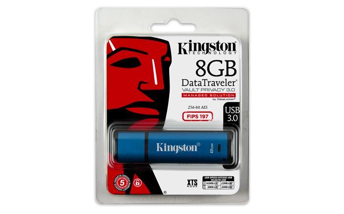 Pendrive, 8GB, USB 3.0, vízálló, titkosítás, KINGSTON