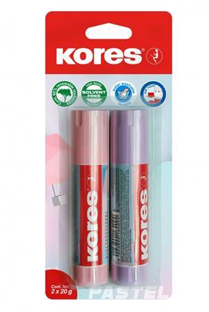 Ragasztóstift, pasztell színű tokban, 2x20 g, KORES, vegyes színek