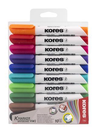 Tábla- és flipchart marker készlet, 1-3 mm, kúpos, KORES