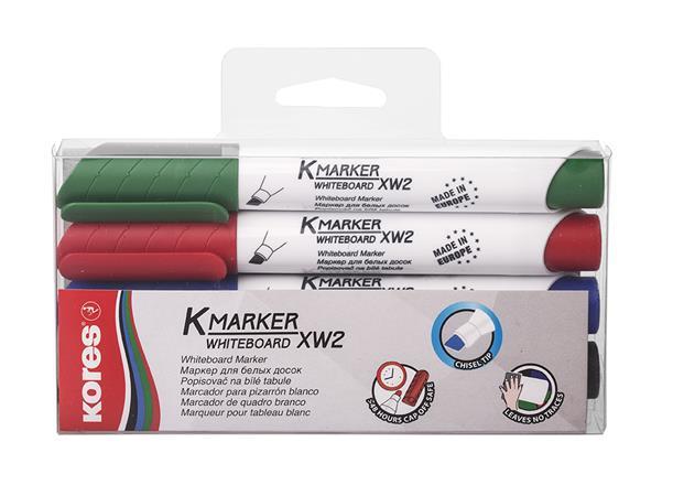 Tábla- és flipchart marker készlet, 1-3 mm, vágott, KORES