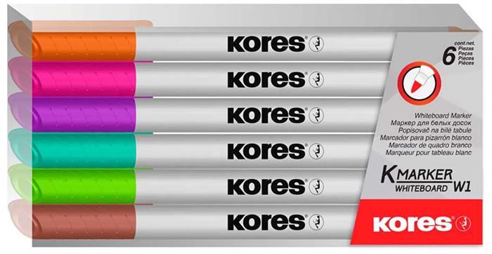 Tábla- és flipchart marker készlet, 1-3 mm kúp, KORES